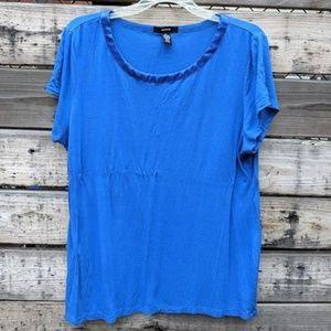 Alfani Blue Short Sleeved Shirt with Trim Size XL